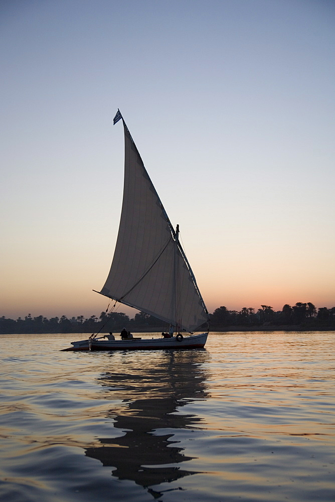 Felucca, sunset, River Nile, Luxor, Egypt, North Africa, Africa - 783-24