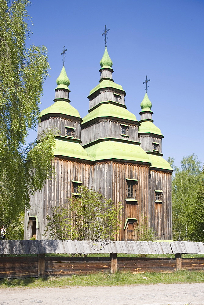 Church made of wood, Pirogov Village, near Kiev, Ukraine, Europe - 783-52