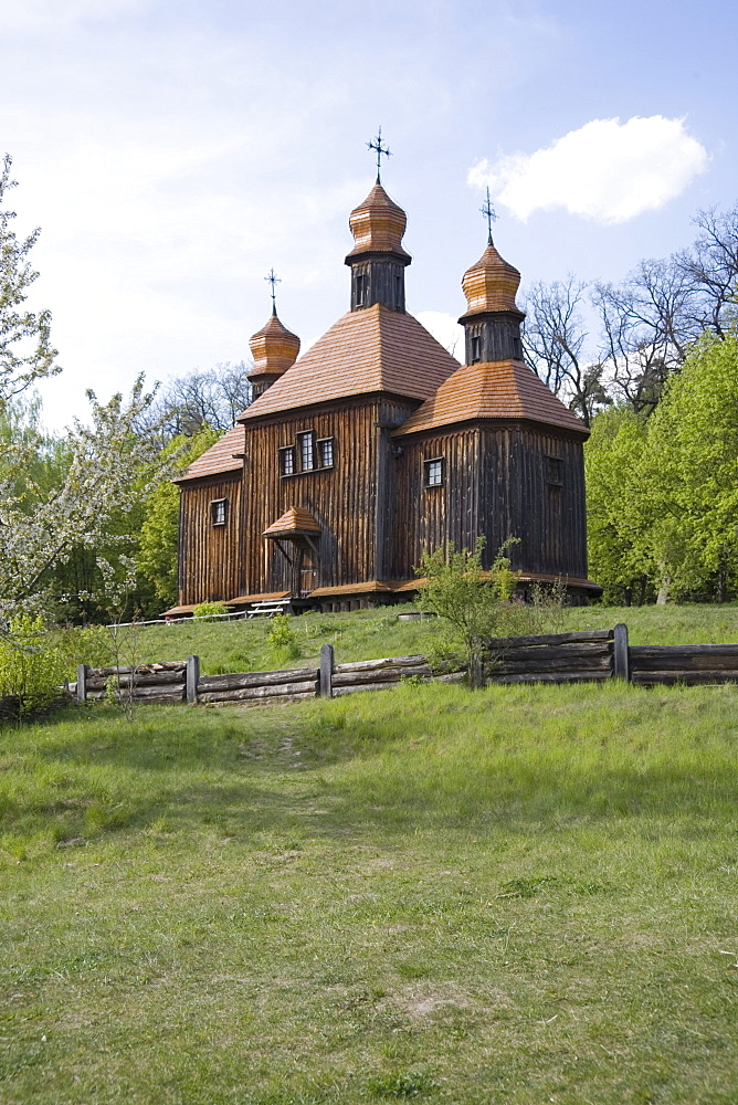 Church made of wood, Pirogov Village, near Kiev, Ukraine, Europe - 783-54