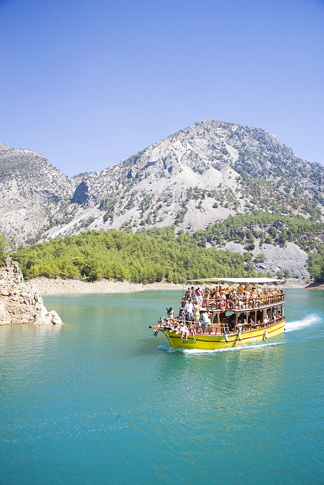 Tourist boat, Green Canyon, Oymapinar Lake, Manavgat, Antalya region, Anatolia, Turkey, Asia Minor, Eurasia - 783-88