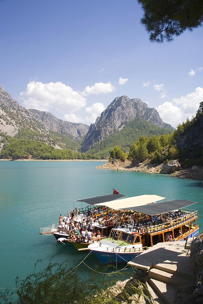 Tourist boats, Green Canyon, Oymapinar Lake, Manavgat, Antalya region, Anatolia, Turkey, Asia Minor, Eurasia