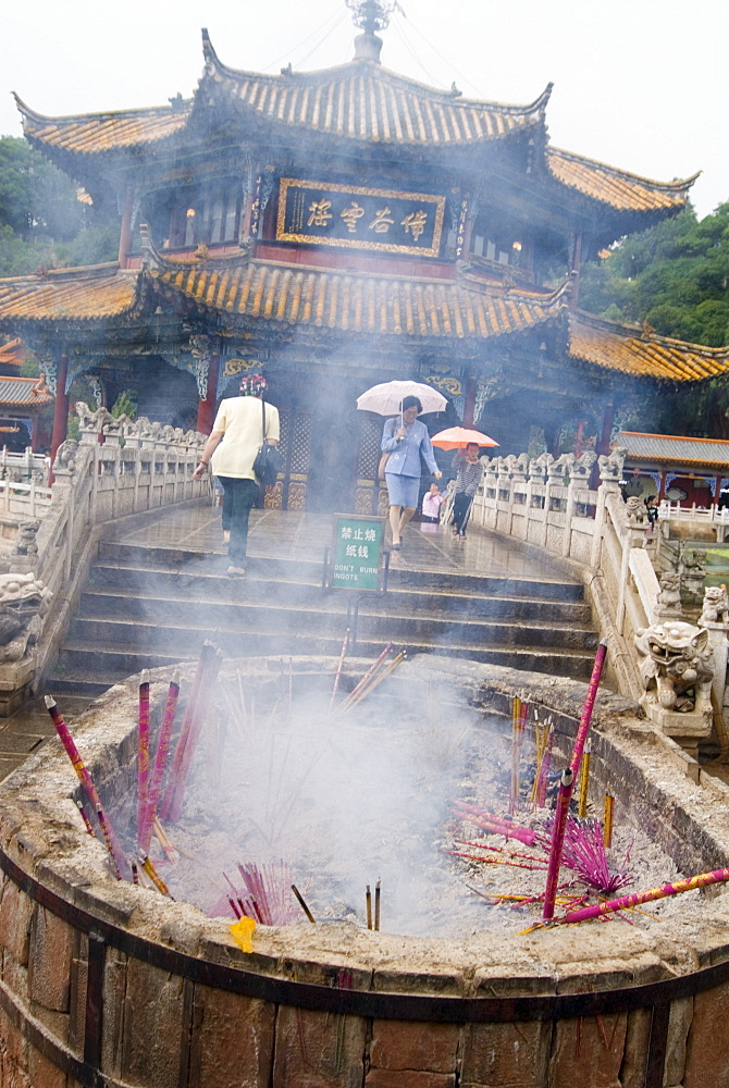 Incense sticks burning in front of Yuantong Temple, Kunming, Yunnan, China, Asia - 784-44