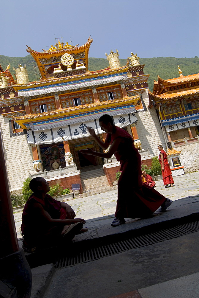 Novice Buddhist monks sparring, Nanwu temple, Kangding, Sichuan, China, Asia - 784-57