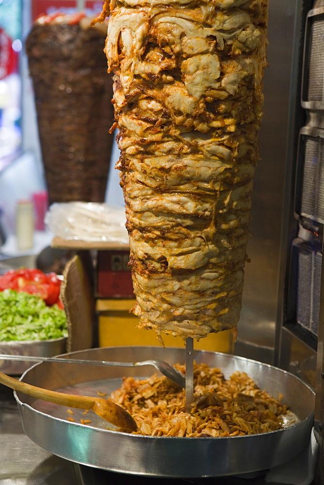 Doner kebab cooking, Istanbul, Turkey, Europe