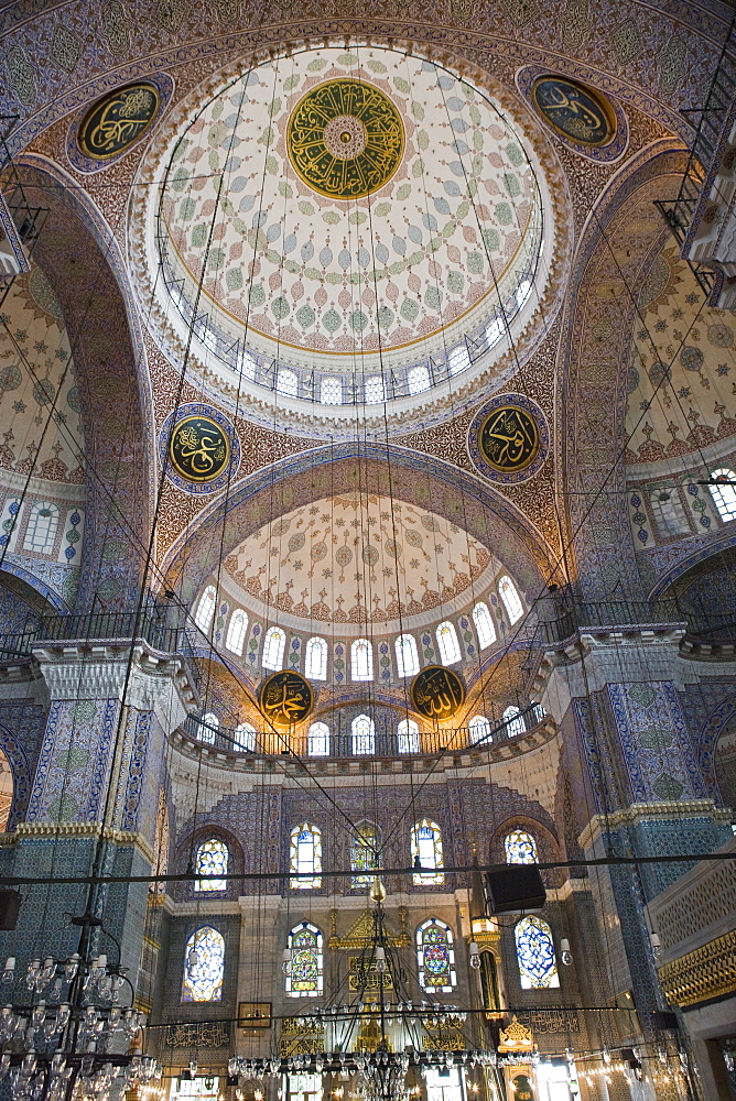 Interior, dome, New Mosque, Istanbul, Turkey, Europe