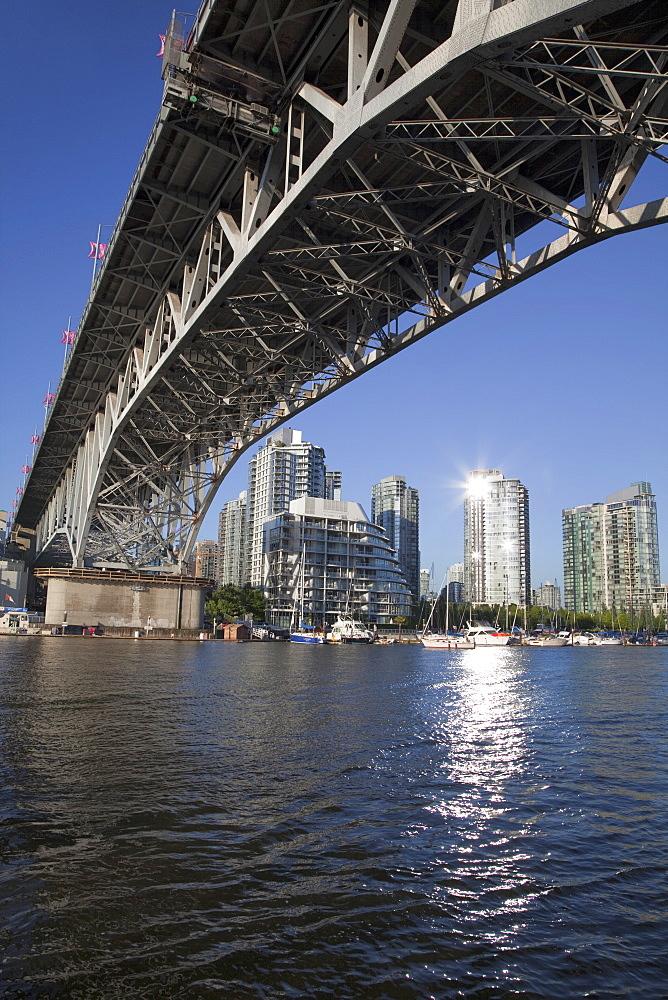 Granville Bridge spanning False Creek at Granville Island, Vancouver, British Columbia, Canada, North America