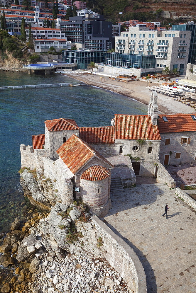 Church of St. Sava and Church of Santa Maria in Punta, Budva old town with the beach beyond, Budva, Montenegro, Europe
