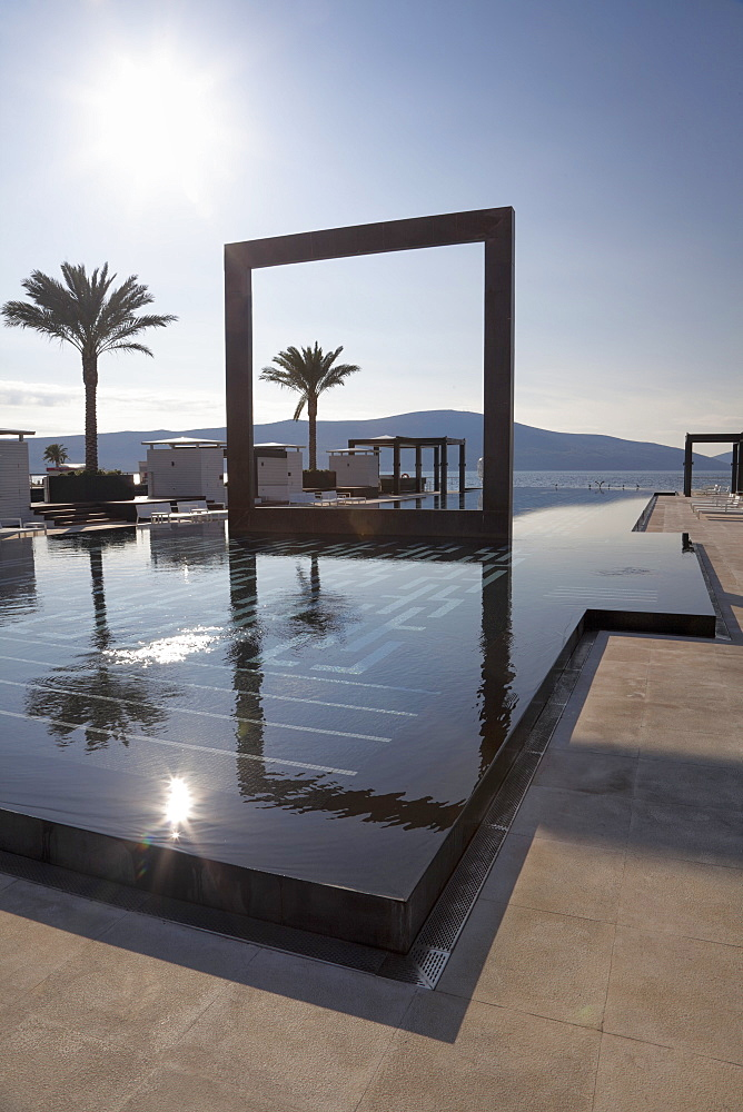 The Lido Mar swimming pool at the newly developed Marina in Porto Montenegro, Montenegro, Europe