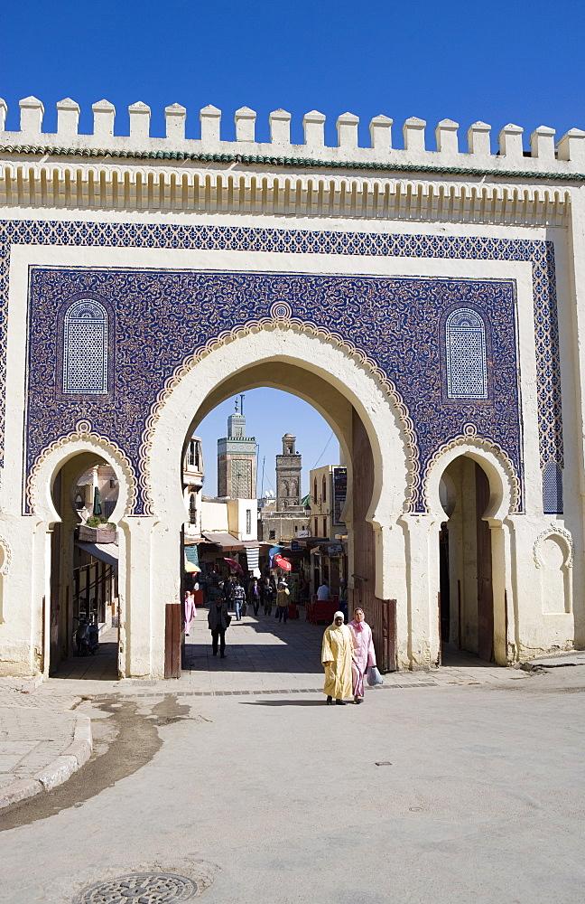 Bab Boujeloud gate, Medina, Fez, Morocco, North Africa, Africa