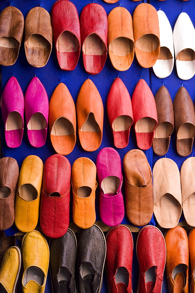 Traditional footware, Souk, Medina, Marrakech, Morocco, North Africa, Africa - 785-221