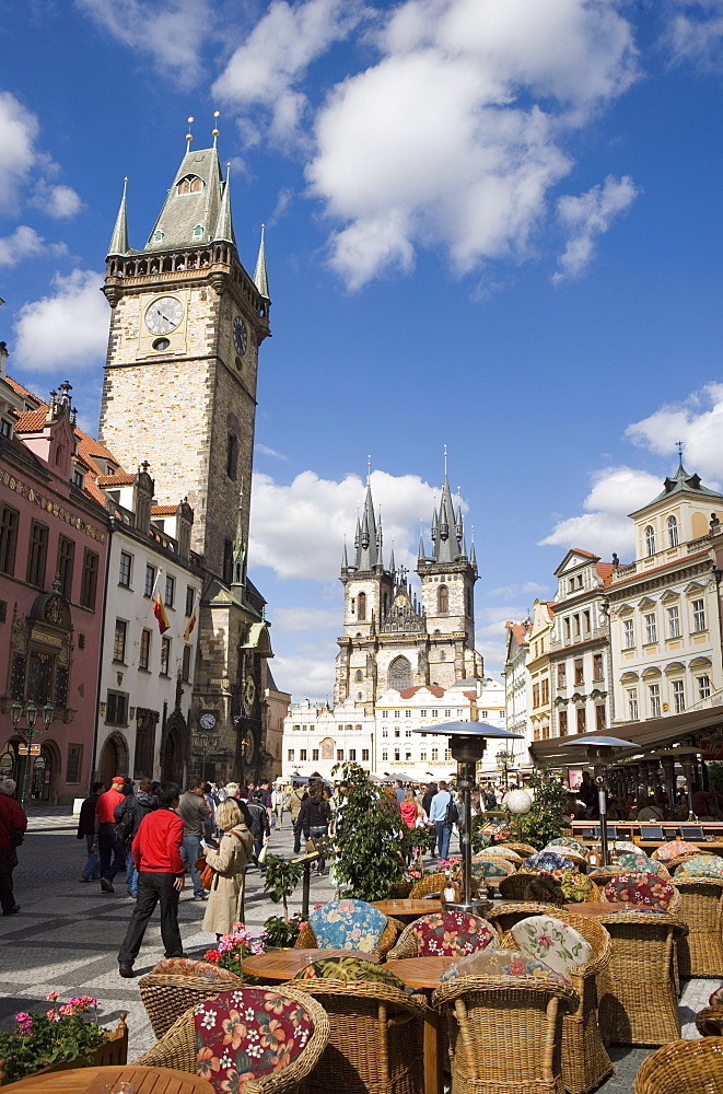 Town Hall and cafe, Old Town Square, Church of Our Lady before Tyn in background, Old Town, Prague, Czech Republic, Europe