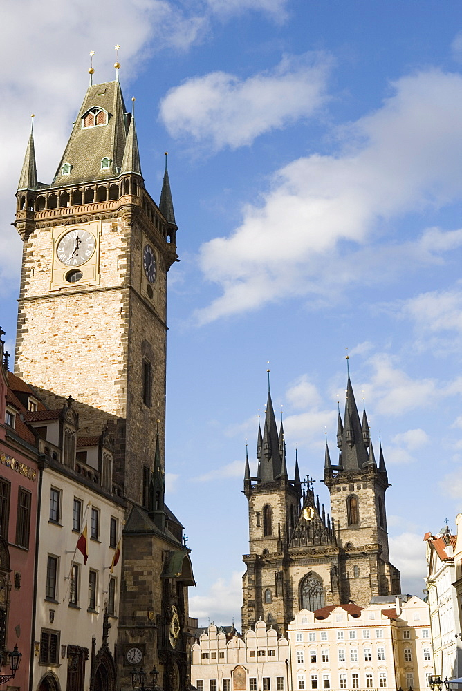 Town Hall Clock, Old Town Square, Church of Our Lady before Tyn, Old Town, Prague, Czech Republic, Europe