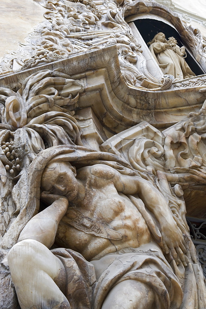 statue of man, Baroque, Museo Nacional de Ceramica Gonzalez Marti, National Ceramics Museum, tower, Valencia, Costa del Azahar, Spain, Europe