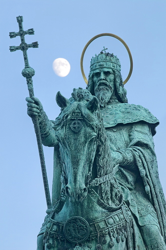 Memorial of St. Stephen King of Ungary, Fisherman's Bastion, Budapest, Hungary, Europe - 789-61