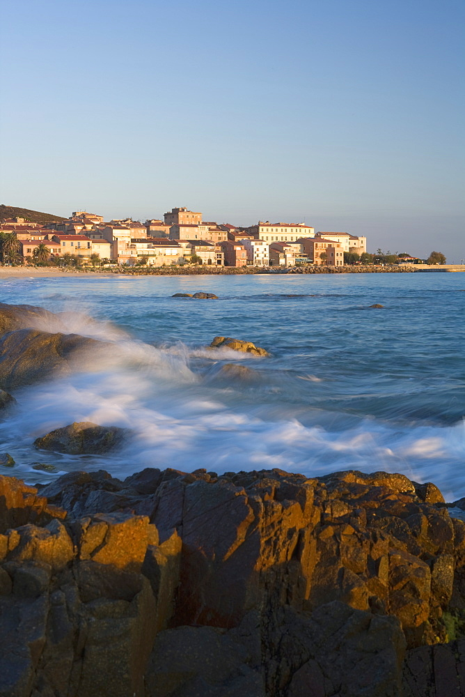 Old town and beach, L'lle Rousse, Corsica, France, Mediterranean, Europe - 791-16