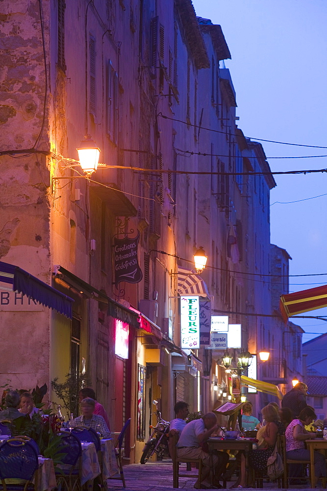 Old town at dusk, L'lle Rousse, Corsica, France, Europe - 791-17