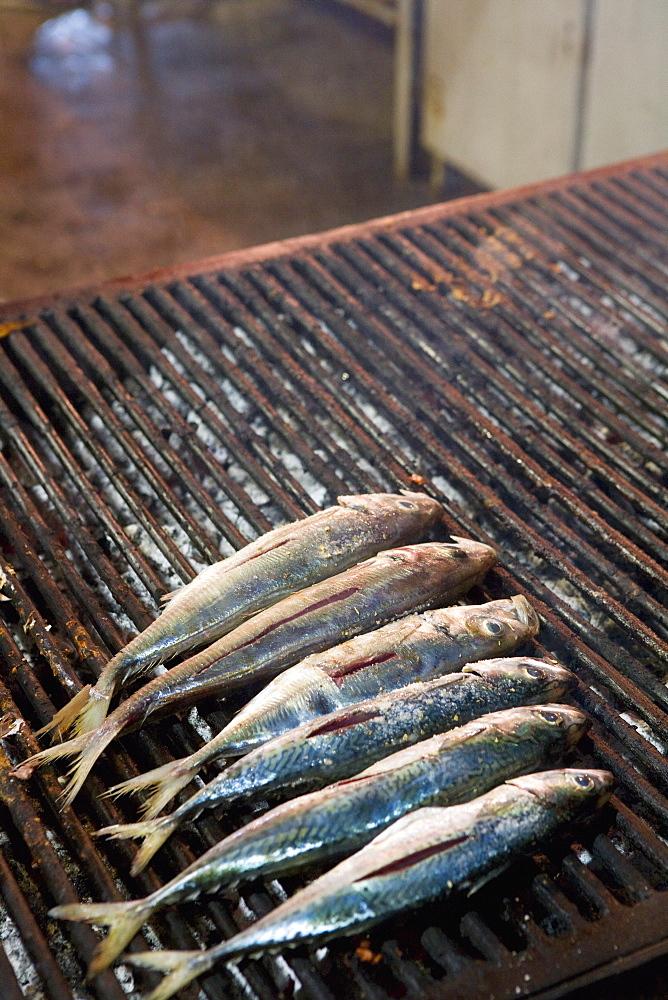 Mackerel on grill, street market, Palermo, Sicily, Italy, Europe - 791-34