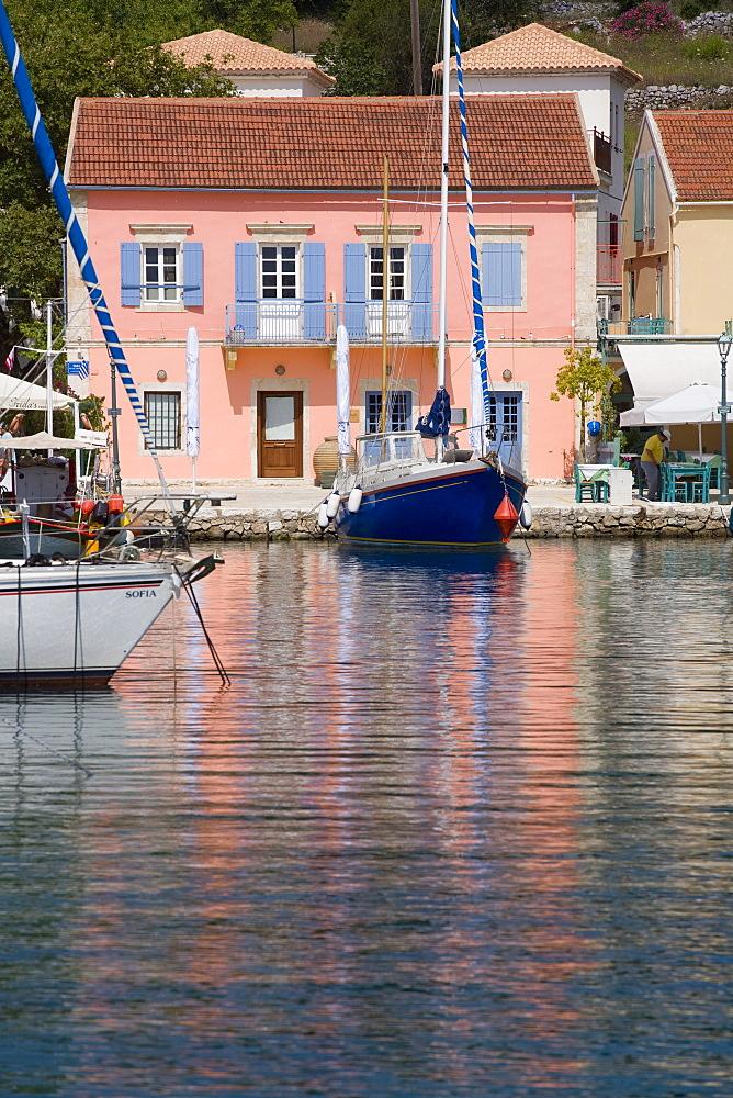 Fiscardo harbour, Kefalonia (Cephalonia), Ionian Islands, Greek Islands, Greece, Europe - 791-5