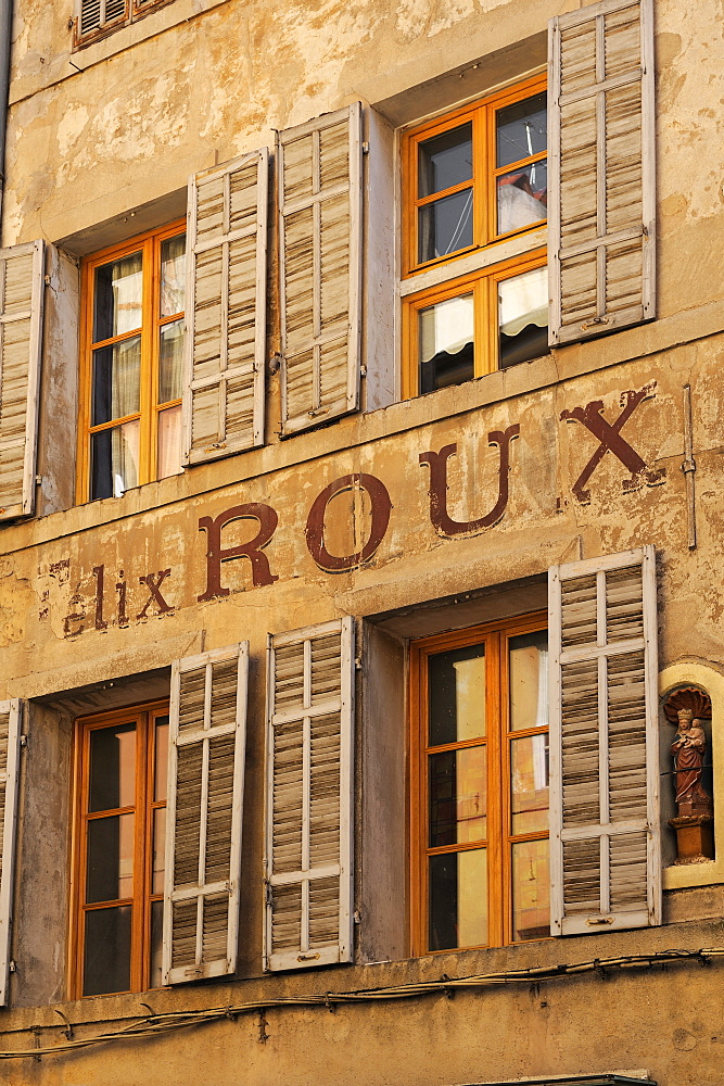Old advertising sign on the side of a building, Aix-en-Provence, Bouches-du-Rhone, Provence, France, Europe