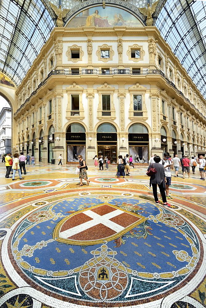 Mosaic tiled floor, Vittorio Emanuele II Gallery, Milan, Lombardy, Italy, Europe - 792-810