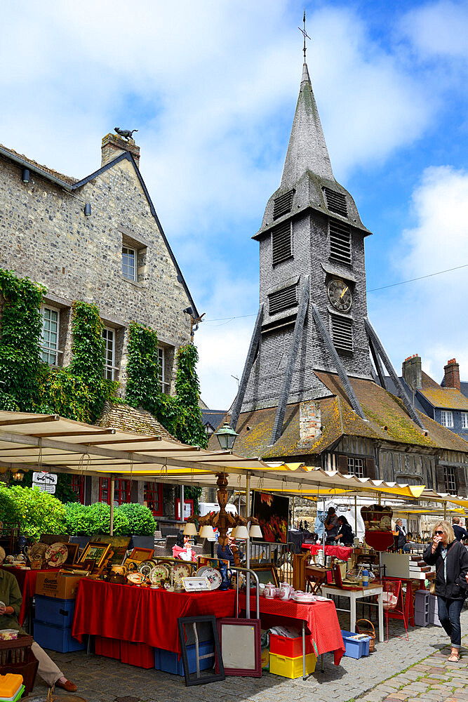 Flea Market, Brocante, Place St Catherine, Honfleur, Calvados, Basse Normandie, Normandy, France, Europe - 792-858
