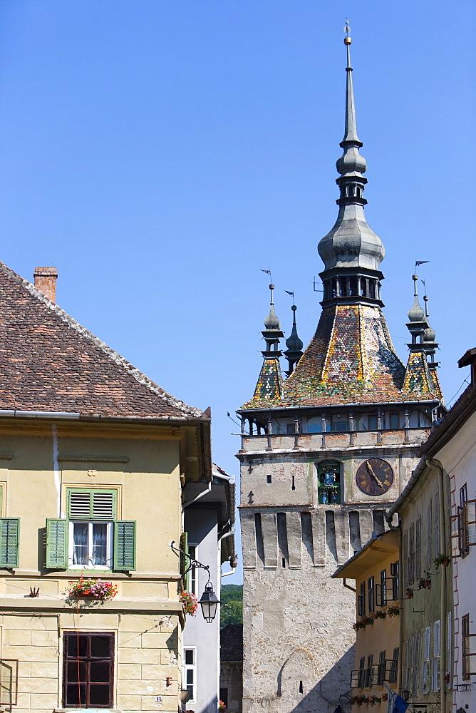Clock tower, Sighisoara, UNESCO World Heritage Site, Transylvania, Romania, Europe - 793-1002