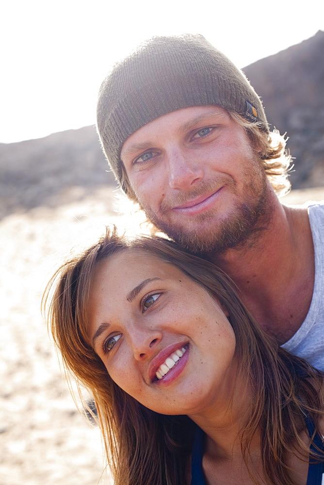 Couple of surfers, Esquinzo beach, Cotillo, Fuerteventura. Canary Islands, Spain, Atlantic, Europe - 793-1013