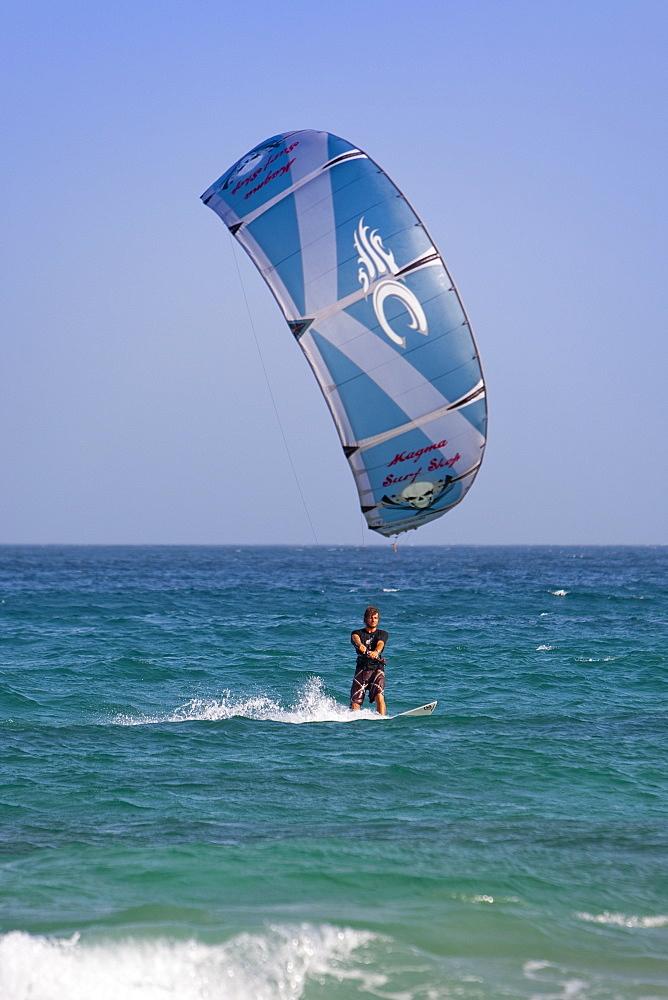 Kite surfer, Cotillo, Fuerteventura, Canary Islands, Spain,. Atlantic, Europe