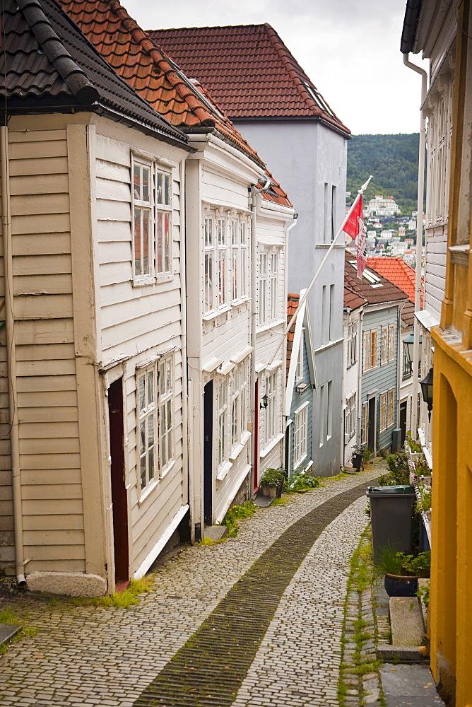 Knosesmauet street, Stransidden district, Bergen, Hordaland, Norway, Scandinavia, Europe - 793-1118