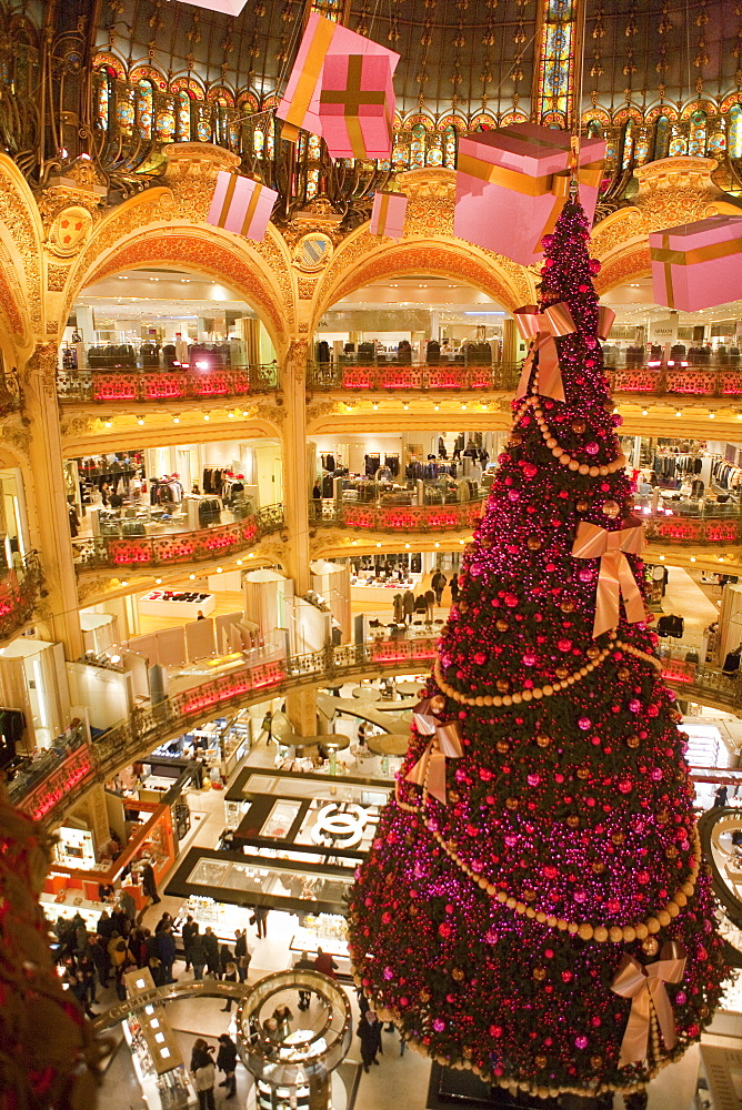 Galeries Lafayette interior during Christmas time, Paris, France, Europe - 793-1133