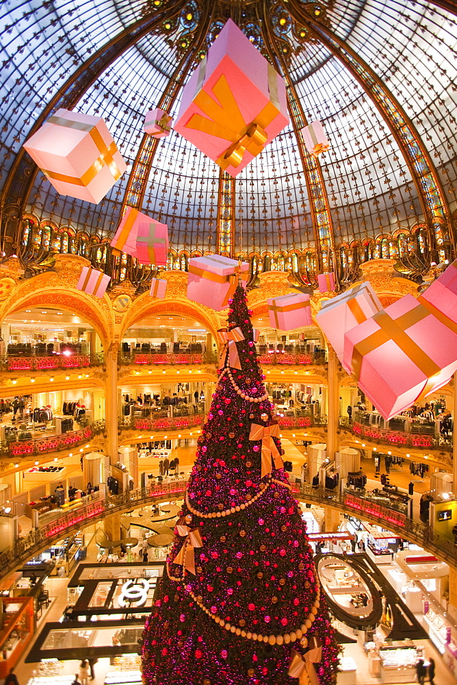Galeries Lafayette interior during Christmas time, Paris, France, Europe - 793-1134