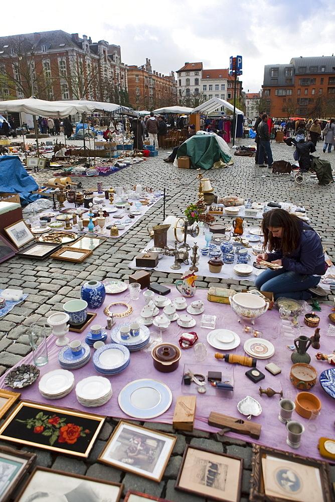 Jeu de Balle square flea market, Brussels, Belgium, Europe - 793-1140