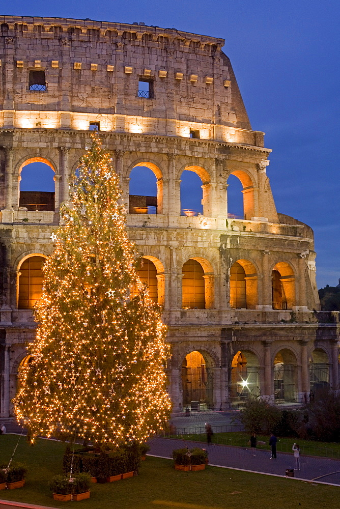 Colosseum at Christmas time, Rome, Lazio, Italy, Europe