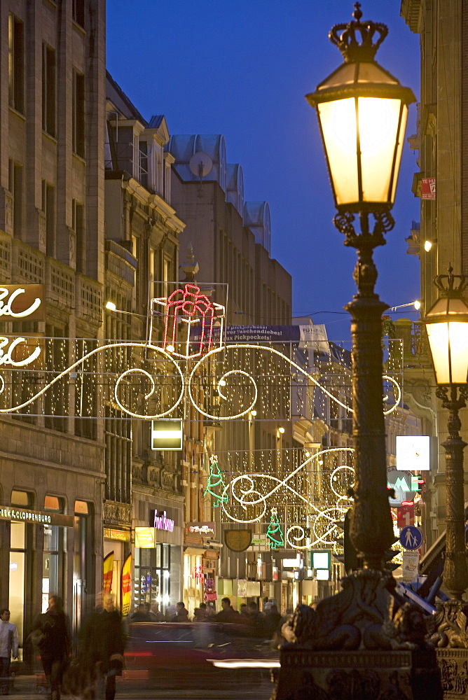 Christmas in Dam Square and Kalvestraat, Amsterdam, Netherlands, Europe