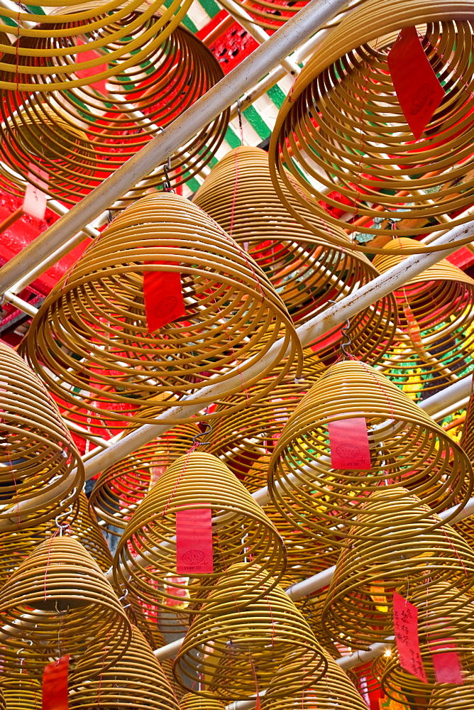 Giant spiral incense coils at the Man Mo Chinese Temple, Central District, Hong Kong Island, Hong Kong, China, Asia