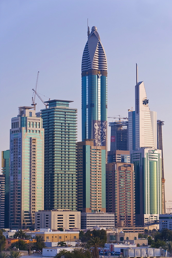 Elevated view of the new Dubai skyline of modern architecture and skyscrapers along Sheikh Zayed Road, Dubai, United Arab Emirates, Middle East - 794-119