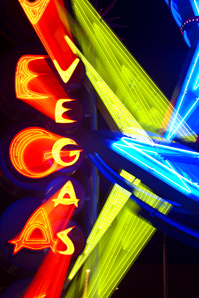 Neon Vegas sign at night, Downtown, Freemont East Area, Las Vegas, Nevada, United States of America, North America - 794-1353