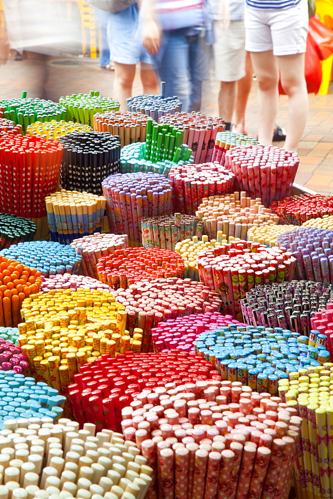Colourful decorative chopsticks for sale as souvenirs to tourists in Chinatown market, Temple Street, Singapore, Southeast Asia, Asia - 794-1703