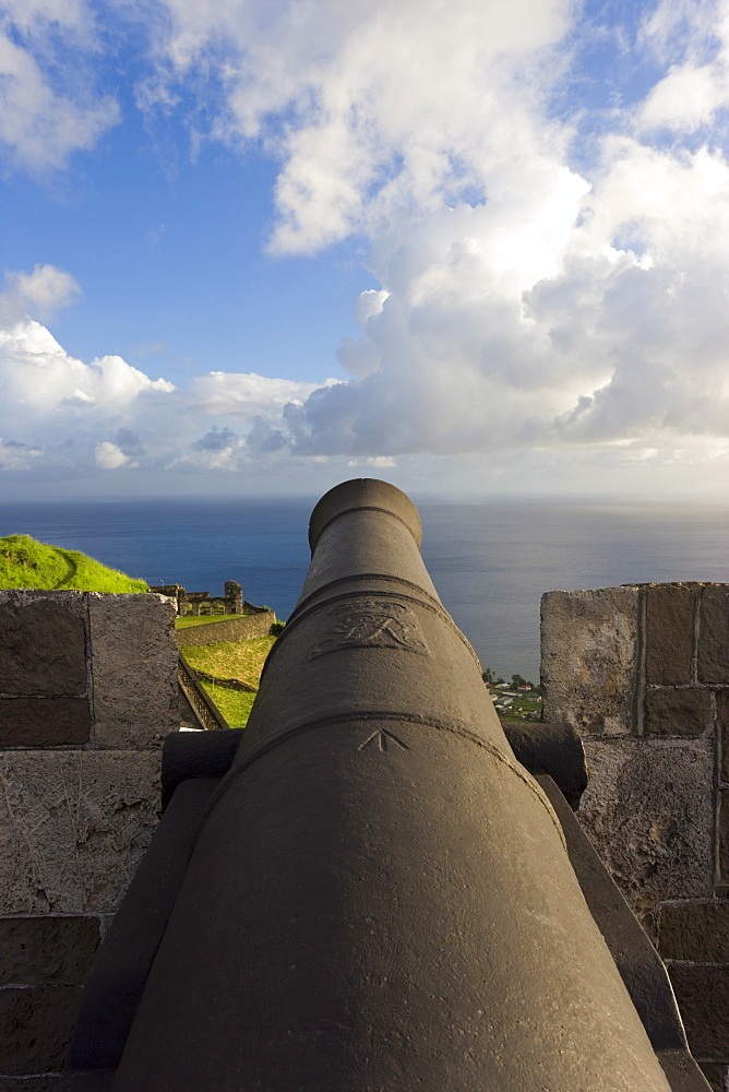 Brimstone Hill Fortress, 18th century compound, lined with 24 cannons, largest and best preserved fortress in the Caribbean, Brimstone Hill Fortress National Park, UNESCO World Heritage Site, St. Kitts, Leeward Islands, West Indies, Caribbean, Central Ame