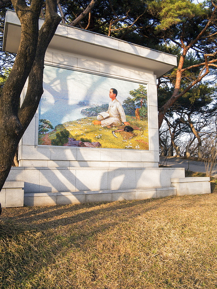 Picture of Kim Il Sung as a boy, Mangyondae Revolutionary site, the birthplace of President Kim Il Sung, Pyongyang, Democratic People's Republic of Korea (DPRK), North Korea, Asia