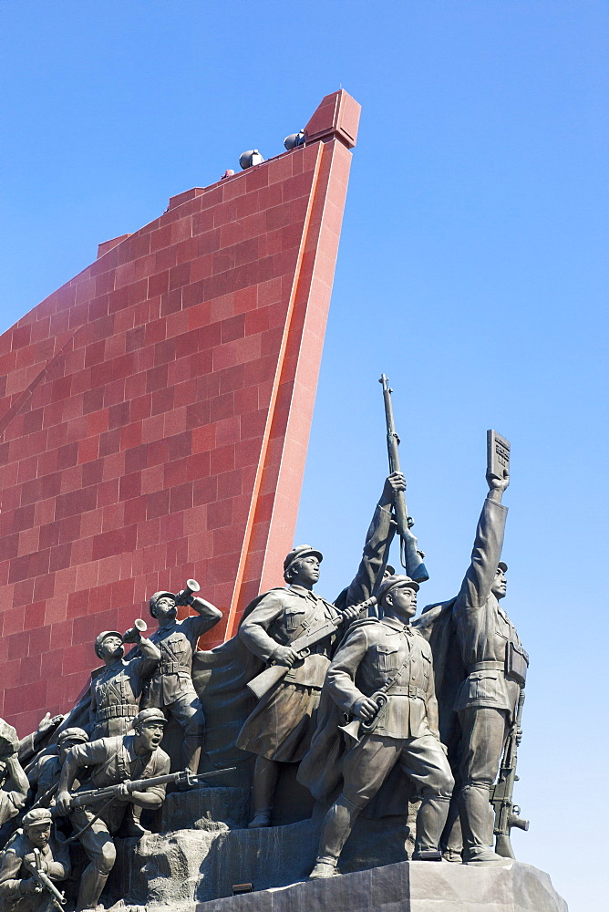Mansudae Grand Monument depicting the Anti Japanese Revolutionary Struggle and Socialist Revolution and Construction, Mansudae Assembly Hall on Mansu Hill, Pyongyang, Democratic People's Republic of Korea (DPRK), North Korea, Asia - 794-3461
