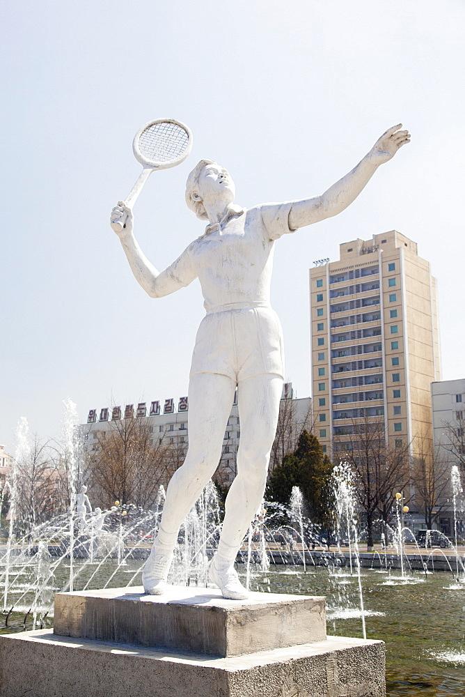 Fountains in front of the Pyongyang Indoor Sports Stadium, Pyongyang, Democratic People's Republic of Korea (DPRK), North Korea, Asia