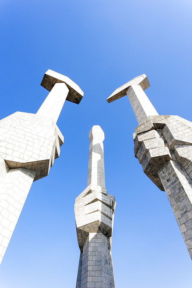 Monument to the Foundation of the Workers Party of Korea, Pyongyang, Democratic People's Republic of Korea (DPRK), North Korea, Asia - 794-3485