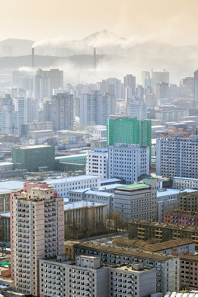 City skyline and pollution from coal fired power plants, Pyongyang, Democratic People's Republic of Korea (DPRK), North Korea, Asia - 794-3502