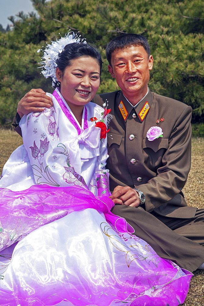 Wedding couple in the city park, Hamhung, Democratic People's Republic of Korea (DPRK), North Korea, Asia