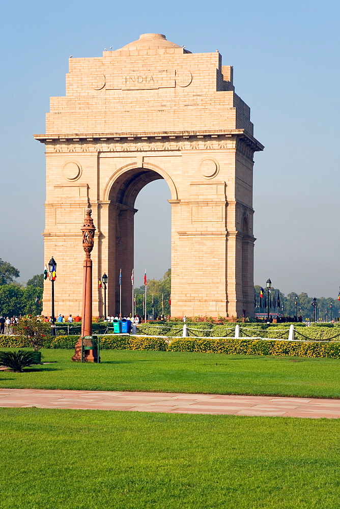 The 42 metre high India Gate at the eastern end of the Rajpath, New Delhi, India, Asia