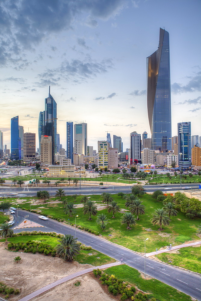 Elevated view of the modern city skyline and central business district, Kuwait City, Kuwait, Middle East