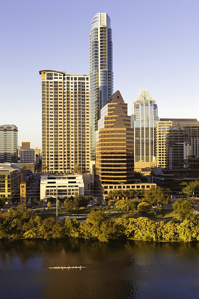 City skyline viewed across the Colorado River, Austin, Texas, United States of America, North America
