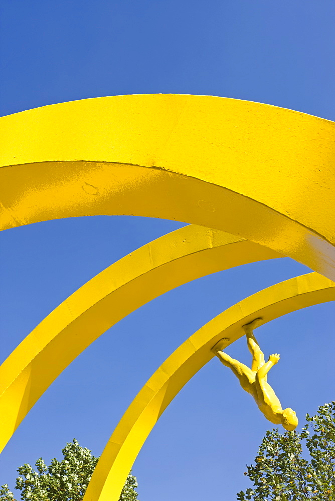 Yellow spiral sculpture in the central business district, Santiago, Chile, South America - 794-388