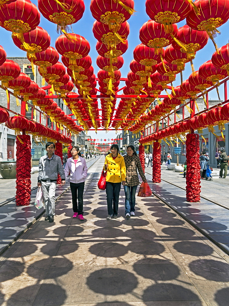 Decorative lanterns above newly rebuilt Qianmen Street, Beijing, China, Asia